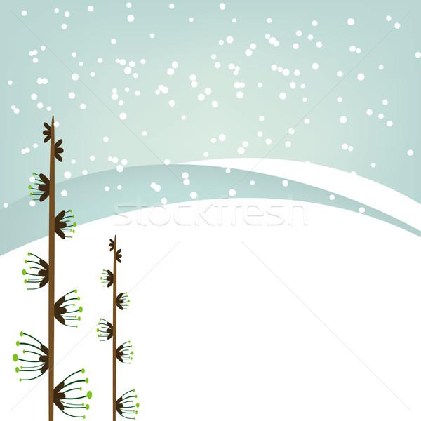 Рождества снежинка синий аннотация звезды Сток-фото © shekoru