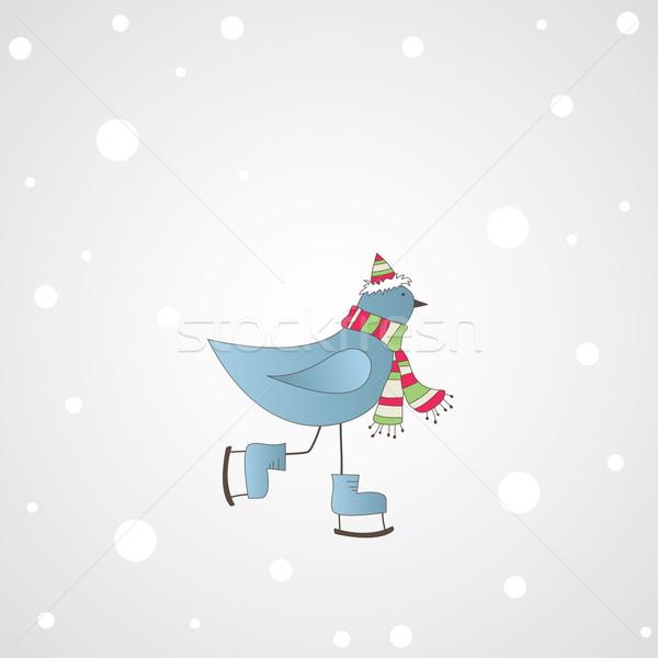 Mavi kuş mesaj kış göz buz Stok fotoğraf © shekoru