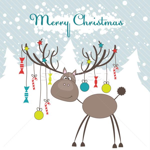 Рождества северный олень весело подарки окна Живопись Сток-фото © shekoru