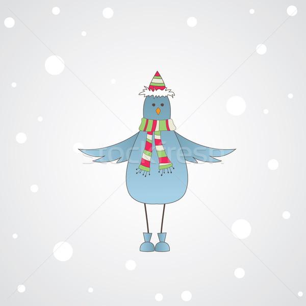 Azul pássaro mensagem inverno olho gelo Foto stock © shekoru