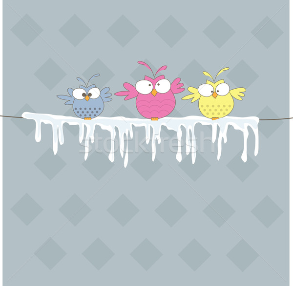 Three owl on the rope. Vector illustration Stock photo © shekoru