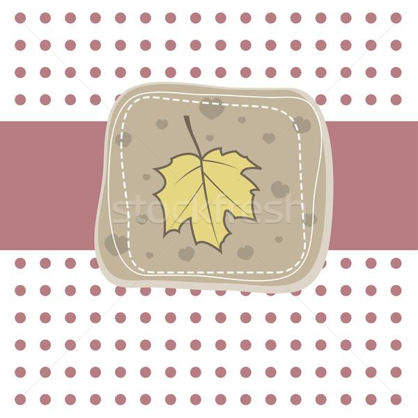 Simples cartão folha romântico amostra amarelo Foto stock © shekoru