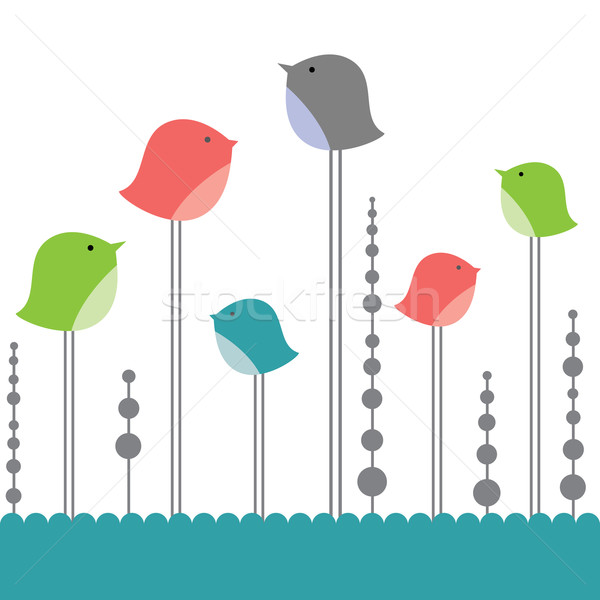 鳥 愛 コンピュータ 春 中心 デザイン ストックフォト © shekoru