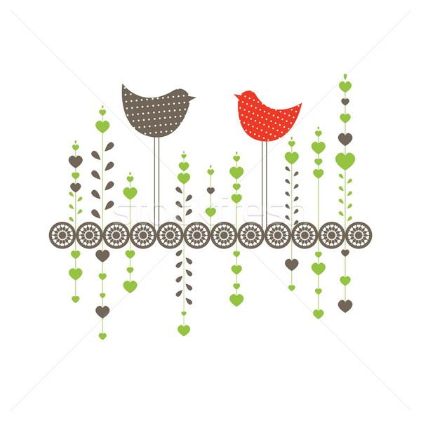 птиц любви компьютер весны сердце дизайна Сток-фото © shekoru