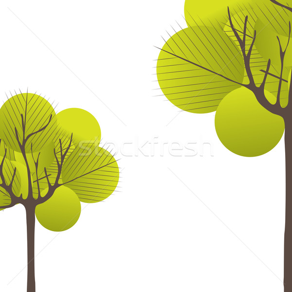 Stock photo: Abstract tree, flowers. Vector illustration