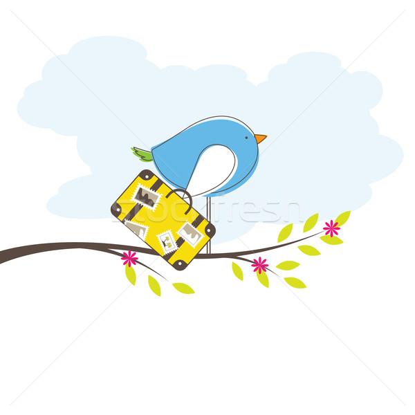 Pássaro árvore vetor isolado flor água Foto stock © shekoru