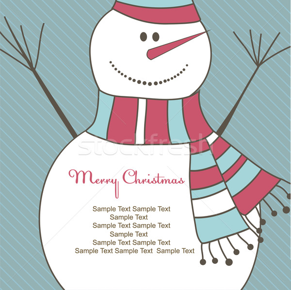 Christmas card with Snow man. Vector illustration Stock photo © shekoru