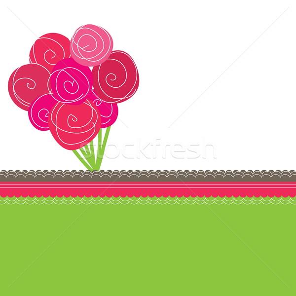 Buquê rosa rosas colorido primavera coração Foto stock © shekoru