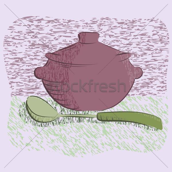 hot silver pan tableware .Vector illustration Stock photo © shekoru