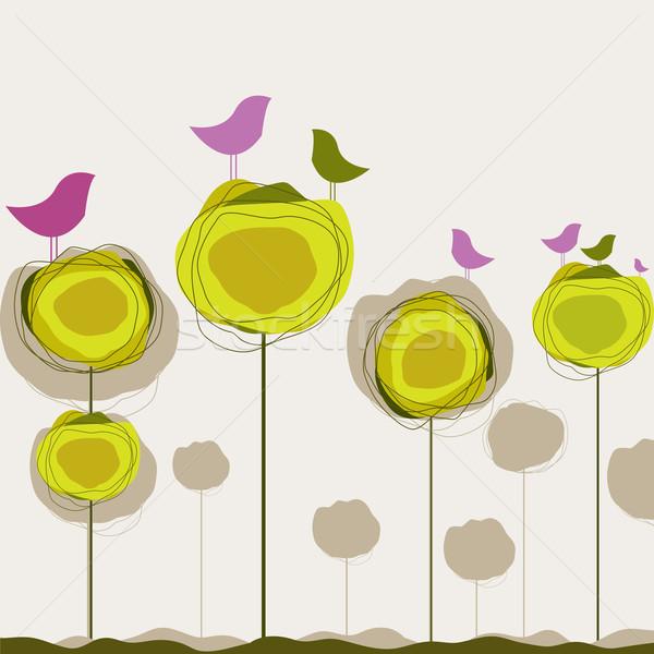 Kuşlar ağaç bilgisayar bahar kalp dizayn Stok fotoğraf © shekoru