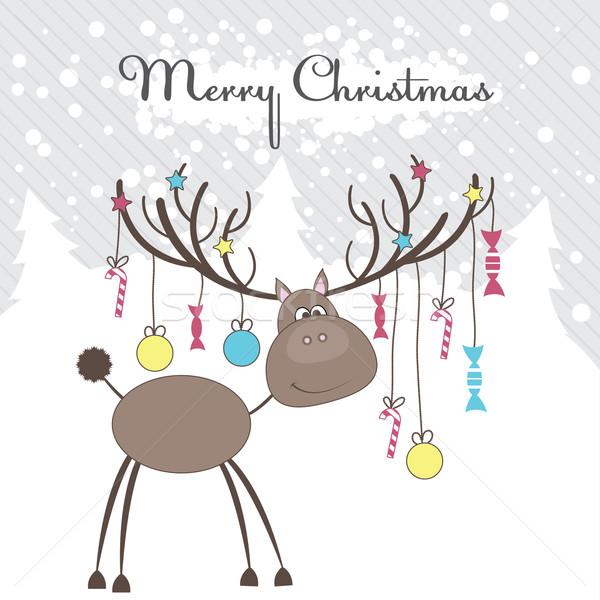 Noel ren geyiği hediyeler eğlence kar sanat Stok fotoğraf © shekoru