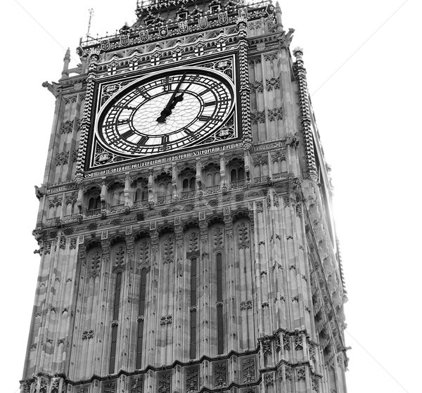 Big Ben relógio torre Londres isolado preto e branco Foto stock © sherjaca