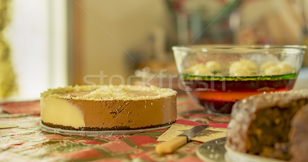 Christmas fare dessert with cheesecake cake and jelly Stock photo © sherjaca