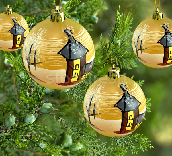 рождество украшения сосна золото безделушка Сток-фото © sherjaca