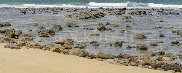 Rocky shoreline during flood tide panorama Stock photo © sherjaca