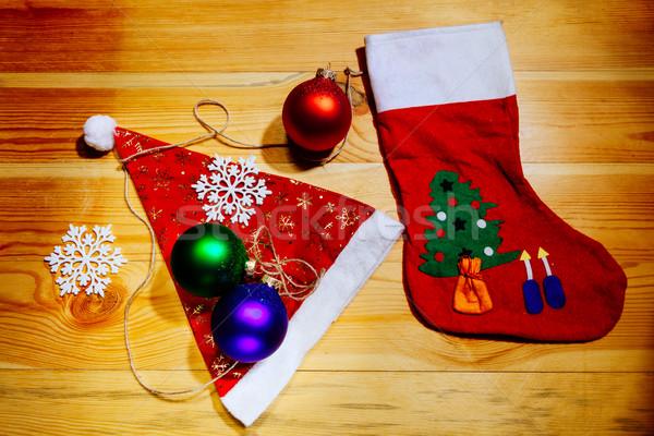 Natal meias seis flocos de neve Foto stock © shevtsovy