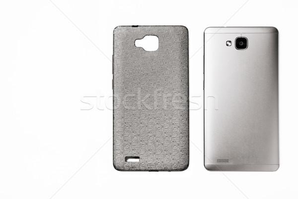 Smartphone caso isolato bianco top view Foto d'archivio © shevtsovy