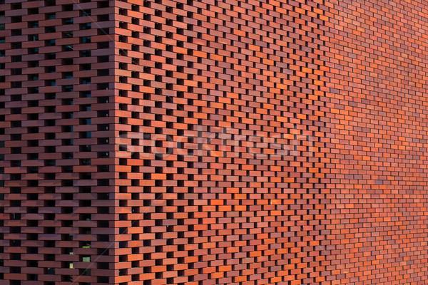Rojo pared de ladrillo edificio ciudad construcción fondo Foto stock © shihina