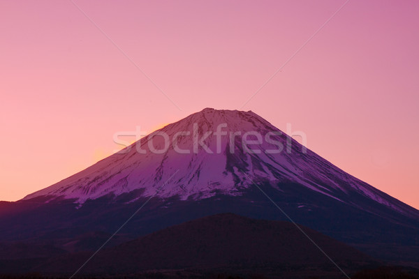 Vermilion sky and the summit of Mount Fuji, a world heritage in Japan Stock photo © shihina