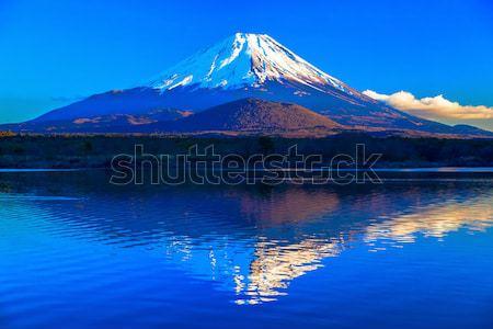 świat dziedzictwo Mount Fuji jezioro wody chmury Zdjęcia stock © shihina