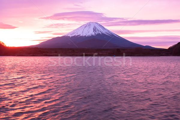 Monte Fuji lago amanecer cielo naturaleza nieve Foto stock © shihina