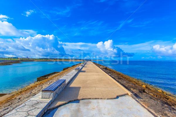 ストレート 道路 海 空 水 雲 ストックフォト © shihina