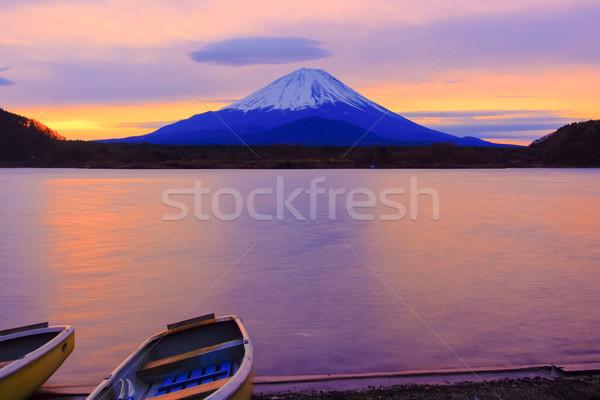 Stock photo: Mount Fuji and boats at sunrise Lake Shojiko