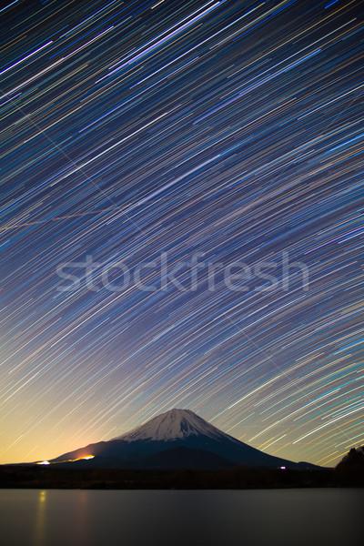 Monte Fuji lago estrellas invierno estrellas naturaleza Foto stock © shihina
