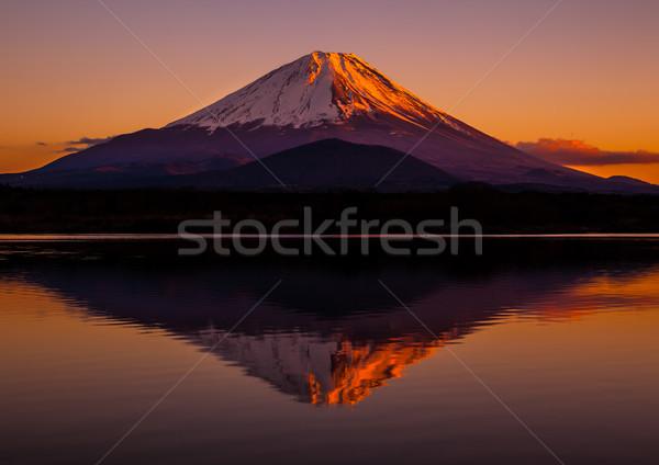 Kép Fudzsi világ örökség este égbolt Stock fotó © shihina