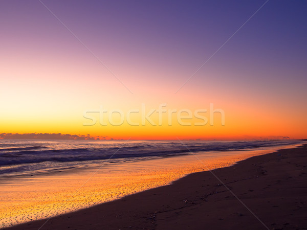 Turuncu gündoğumu renk long beach hat bulutlar Stok fotoğraf © shihina