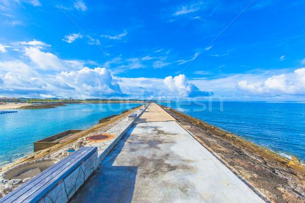 Sea, sky and benches Stock photo © shihina