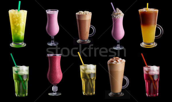 Foto stock: Bebidas · conjunto · preto · dez · colagem · isolado