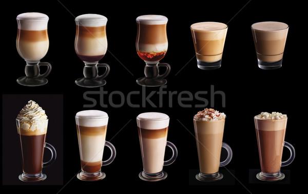 Dez café colagem conjunto isolado preto Foto stock © shivanetua