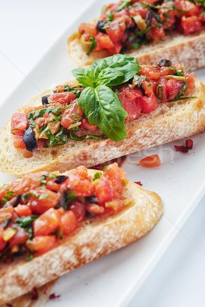 Salsa bruschetta somon sebze beyaz ekmek Stok fotoğraf © shivanetua