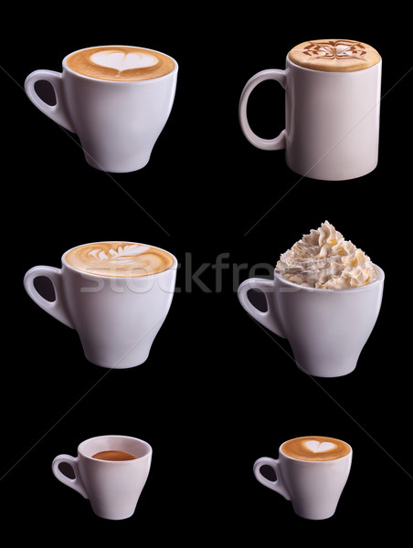 Seis xícara de café conjunto colagem isolado preto Foto stock © shivanetua