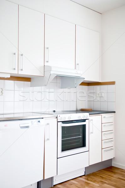 Elegante moderno interior da cozinha branco cozinha projeto Foto stock © shivanetua