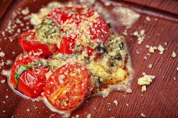 Salada tomates queijo secretária cor Foto stock © shivanetua