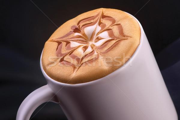 Xícara de café café preto copo fumar isolado preto Foto stock © shivanetua