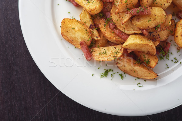 Batatas bacon cogumelos gordura rápido Foto stock © shivanetua