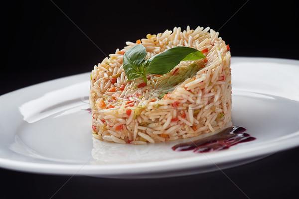 Basmati arroz branco prato manjericão folhas Foto stock © shivanetua