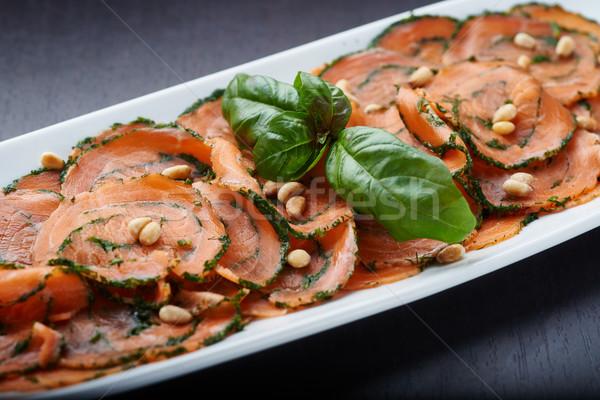 Salmão nozes branco prato carne salada Foto stock © shivanetua