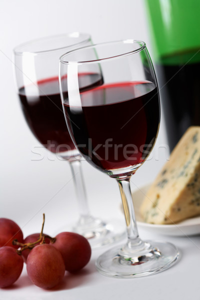 Stok fotoğraf peynir üzüm kırmızı şarap arka