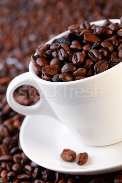 Grains de café tasse mise au point sélective fond espace objets Photo stock © shyshka