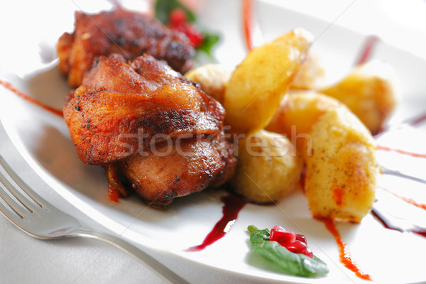 Roast chicken meat with Potato Stock photo © shyshka