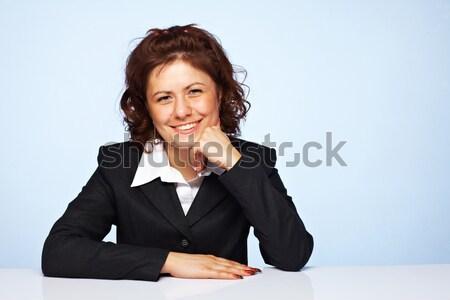 Kép boldog üzletasszony mosolyog kék üzlet Stock fotó © shyshka