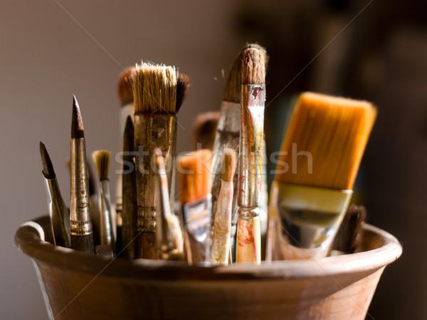 Közelkép festmény fa festő művész ecset Stock fotó © shyshka