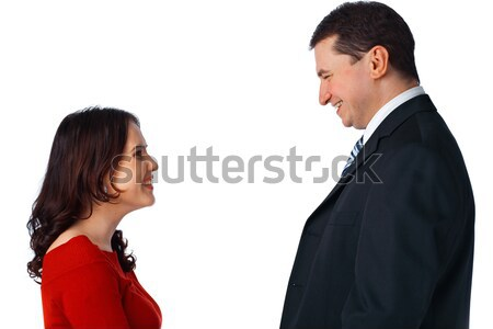 Young couple standing opposite and looking at each other Stock photo © shyshka