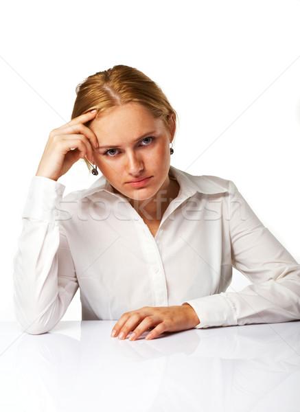 Portrait fatigué femme d'affaires isolé blanche bureau Photo stock © shyshka