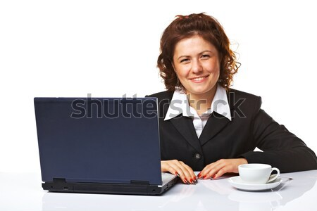 Portret elegante zakenvrouw werkplek vrouw vrouwen Stockfoto © shyshka