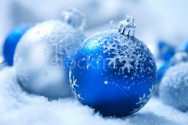 Karácsony dísz hó háttér kék kör Stock fotó © shyshka